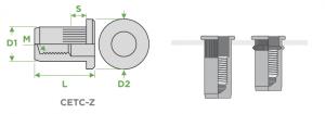 inserti-filettati-sariv-CETC-Z-cilindirci-ermetici-testa-cilindrica-corpo-zigrinato-sezione-impiego