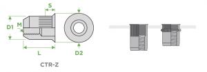 inserti-filettati-sariv-CTR-Z-cilindrici-testa-ridotta-corpo-zigrinato-sezione-impiego