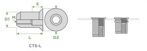 inserti-filettati-sariv-CTS-L-cilindrici-testa-svasata-90-gradi-corpo-liscio-sezione-impiego